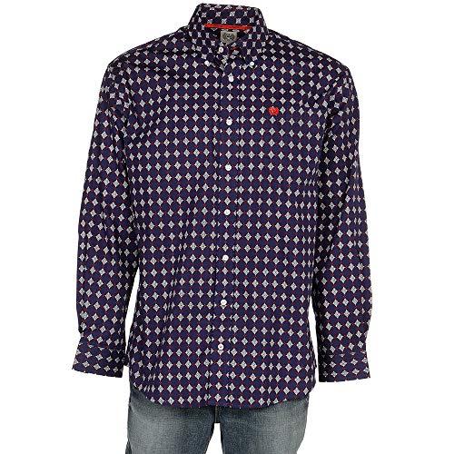 Button-down One Pocket Shirt (Cinch Herren Classic Fit Long Sleeve One Open Pocket Shirt Button Down Hemd, Patriot Blue Flower, XX-Large)
