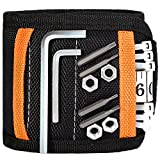 Magnetic Wristband, Adjustable Belt Wristband Tools with Strong Magnets for Small Metal Tools, Screws, Nails and 2 Storage Bags for Non-magnetic, Black
