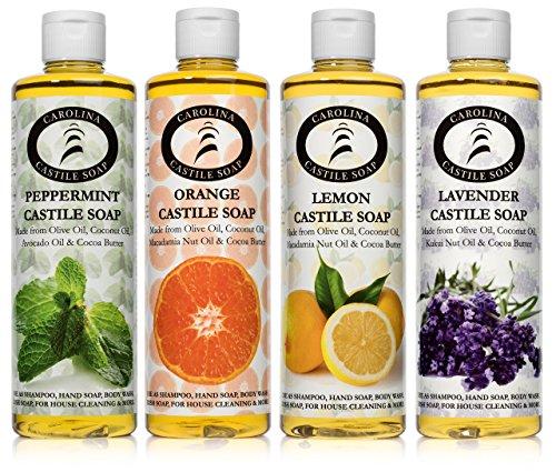 Carolina Castile Soap Variety 4 Pack - (Lemon Orange Peppermint & Lavender, 16 oz)