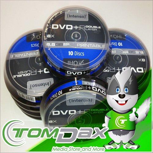 Preisvergleich Produktbild 100 Intenso DVD+R 8x Print Double Layer bedruckbar 8,5 GB Rohlinge