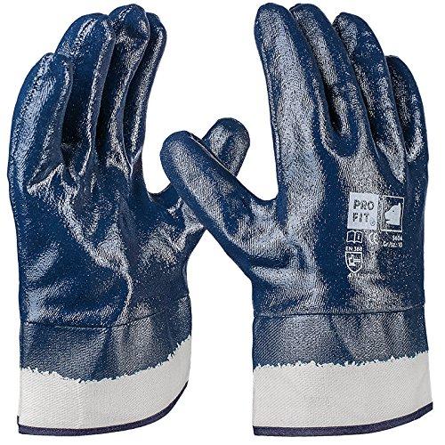 PRO FIT 12 Paar - Basic Nitril-Handschuh, blau, vollbeschichtet, Stulpe 10 (Handschuh Natur-jersey)