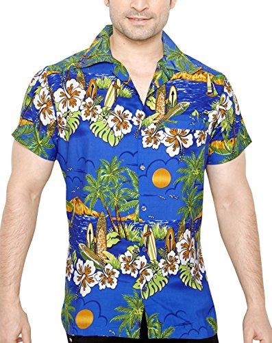 Tropical vibes camicia da uomo hawaiana floreale classica casual a maniche corte regular fit xxl
