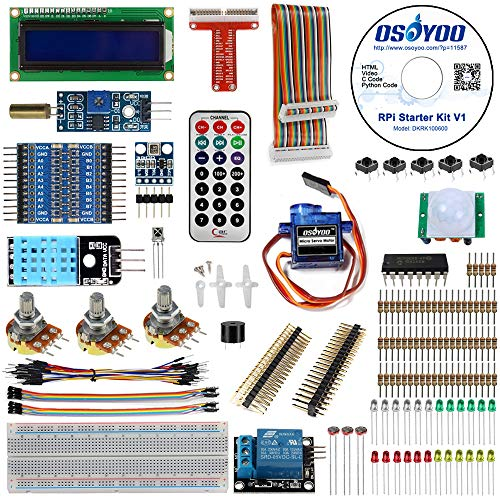 OSOYOO Ultimate Starter Learning Kit for Raspberry pi 3 Starter Kits with GPIO T Cobbler Display Servo Motor Sensor Kit (Python-starter-kit)