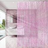 Carttiya Duschvorhang/Eva Badewanne Vorhang, Mehltauresistent/Anti Schimmel | Antibakteriell | Wasserdicht | mit 12 Haken | 180x180 cm für Badezimmer, Rosa