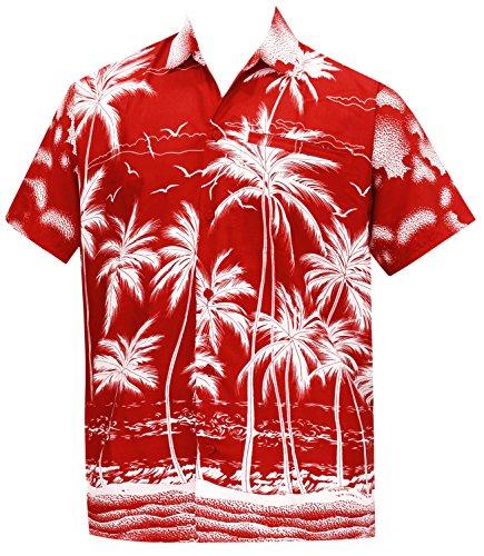 La Leela Männer Regular Fit Aloha Hawaiische Kurze Ärmel Knopf Unten Hawaiihemd Rot (Unten Rot Männer)