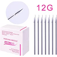 ATOMUS - 100 aghi sterilizzati per piercing da 12 G, 14 G, 16 G, 18 G, 20 G, per orecchio, ombelico, capezzolo, aghi…