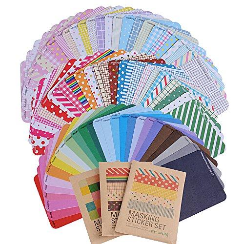 81 Blatt Masking Sticker Set Maskierung Aufkleber Labeling Craft Scrapbooking Deko Masking Tape für Tagebuch Geschenk Vintage Papieraufkleber DIY