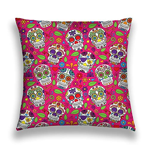 zexuandiy Kissenbezüge Throw Pillow Case Decorative Cushion Cover Square Pillowcase, Sofa Bed 18 X 18 Inch Twin Sides Day Dead Sugar Skull Seamless Background Dia de los Muertos Elements Leaf