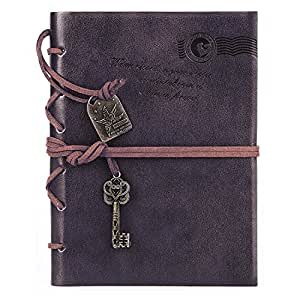 Ai-life Retrò Vintage Travel Notebook Pagine Bianche Agenda in Cuoio in Stile PU Pelle Copertina in Bianco Kraft Papers Notepad Pendente Chiave String, Journal Diario Leather Bound Notebook