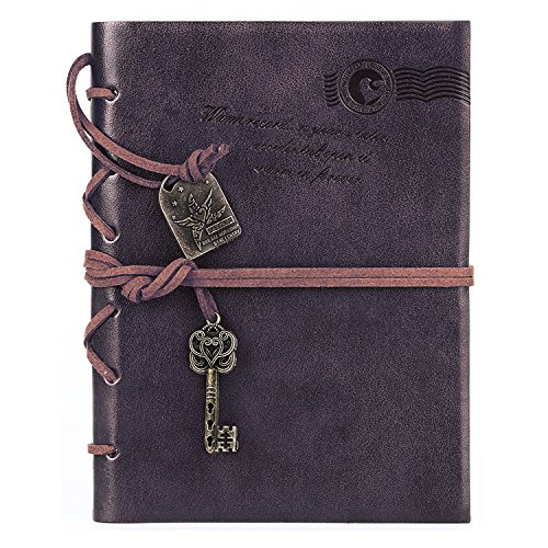 NectaRoy Retro Vintage Leather Cover Notizbuch Klassische Notepad Travel Journal Tagebuch Reisetagebuch Sketchbook Tagebuch Leere Seiten, Größe(135x189mm)