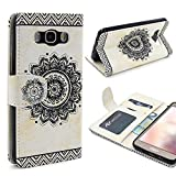 Urcover Motorola Moto G4 Handy Schutz-Hülle   Lotus Pattern Wallet Weiß   Kartenfach & Standfunktion   Flip Case   Trendy Tasche   Cover Schale   Smartphone Zubehör