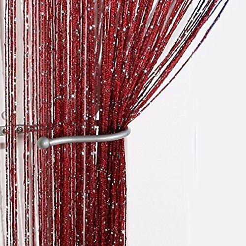 String Vorhang Panel, 100 % Polyester, 2.9m x 2.9m Tür Fenster Home Decor ,Wein Rot (Glitter Wein)
