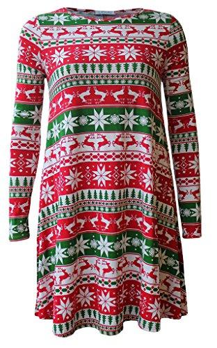 Neuf Femme Mini robes sapins de Noël Noël Père Noël Bonhomme de neige Renne Rudolph Cadeau cloches Cadeau femmes Swing Top renne