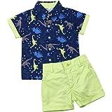 Ropa Niño Conjuntos Verano 2 Piezas Camisa Dinosaurio + Pantalón Corto para Chico de 1-6 Años para Casual, Fiesta, Vacaciones