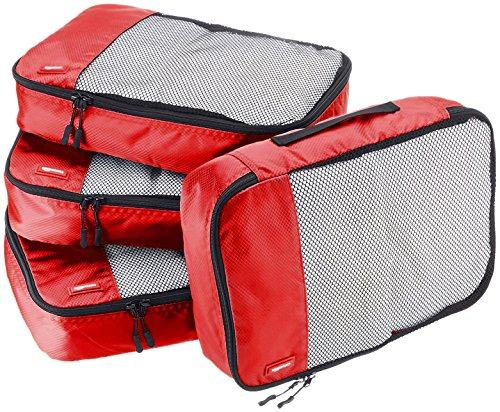 AmazonBasics Packing Cubes - Medium (4-Piece Set), Red