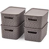 EZOWare Petit Panier de Rangement en Plastique PP Tissé avec Couvercle, Boîte de Rangement, Bac de Rangement pour Cuisine, Sa