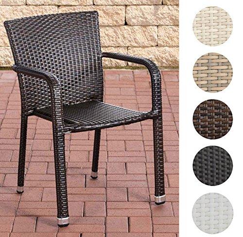 Rattan, Ohne Armlehnen Stuhl (CLP Poly-Rattan Gartenstuhl LEONIE, Stapelstuhl mit Armlehne, ALU Gestell Braun Meliert)