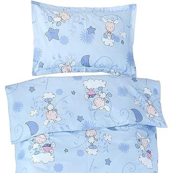 158fbfec0bc21 Les agneaux bleu - Pati Chou 100% Coton Linge de lit pour bébé (Taie  d oreiller et Housse de couette 120x150 cm)