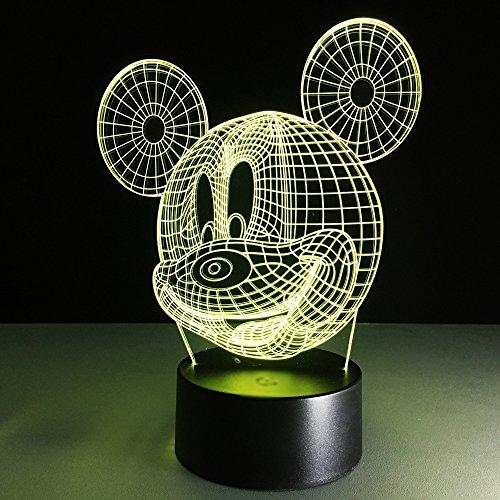 3D Illusion Lampe, USB Nachlichter 7 Farbwechsel 3D Effekt Mouse LED Nachlampe schreibtischlampe Kreativ Leuchten Tischleuchte Dekoratives Licht für Kinder Jungen Mädchen Geschenk für Sohn Tochter (Mickey-mouse-lichter)