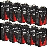 10x Kraftmax 9V Block Lithium Hochleistungs- Batterien für Rauchmelder / Feuermelder - 10 Jahre Batterie Lebensdauer