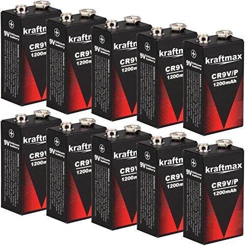 kraftmax 10x 9V Block Lithium Hochleistungs- Batterien für Rauchmelder/Feuermelder - 10 Jahre Batterie Lebensdauer