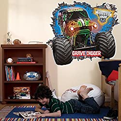 Monster Jam Room Decor - Grave Digger 3D Giant Wall Decals