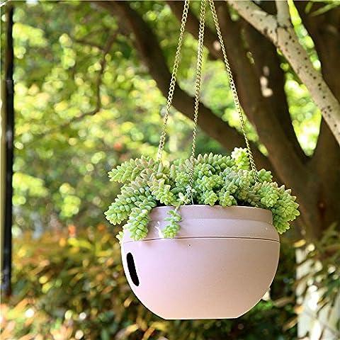 Garden Flower Pots - 3L IndooGarden Flower Pots - 3L Indoor Outdoor Plastic Bowl Shape Self Watering Planter Pots with Hanging Chains Hook