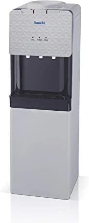 Saachi Hot, Normal & Cold 3 Taps Free Standing Water Dispenser with Refrigerator, Grey & Black - NL-WD-65R