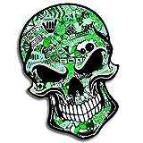 2 Stück Vinyl Aufkleber Autoaufkleber Bomb Stickers Skull Schädel Totenkopf Grün Horror Stickers Auto Moto Motorrad Fahrrad Helm Fenster Tür Tuning B 51