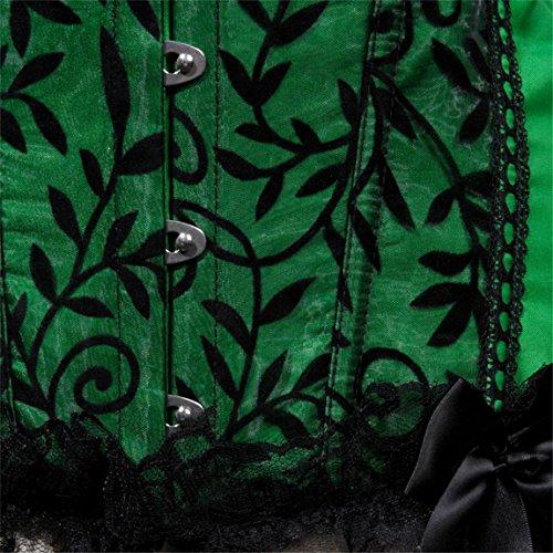 Lace Trim Brocade Corset Bustier Shapewear Waist training Overbust Top Top Green