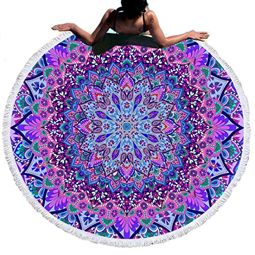 60 Inches Runde Strandtuch Mit Quaste Mikrofaser 3D Bunt Lila Löwe Blau Drache Schwarz Weiß Mandala Wolf Grüner Kaktus Pflanze Hirsch Bedruckt Yoga Matte Tapisserie (Mehrfarbig 17)