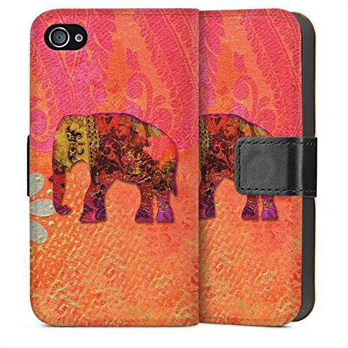 Apple iPhone 4 Housse Étui Silicone Coque Protection Éléphant Goa Indien Sideflip Sac