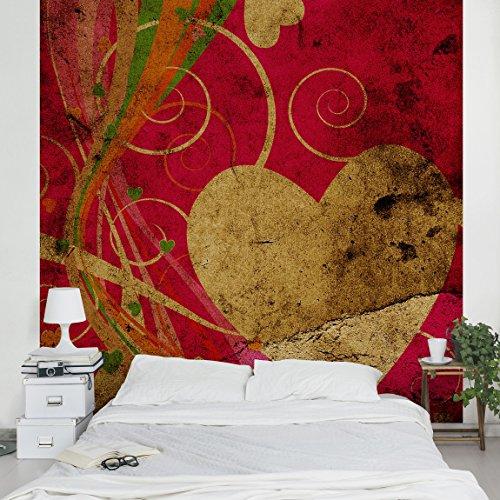 Apalis Vliestapete Lava Love Fototapete Quadrat | Vlies Tapete Wandtapete Wandbild Foto 3D Fototapete für Schlafzimmer Wohnzimmer Küche | Größe: 240x240 cm, rot, 97791 (Stoff Lava)