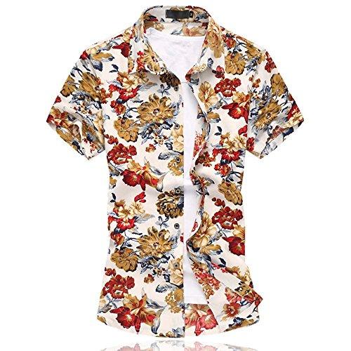 Uomo Tempo Libero Camicia Hawaiana Stampe Floreali corte da floreale Camicie Manica Corta Red Small