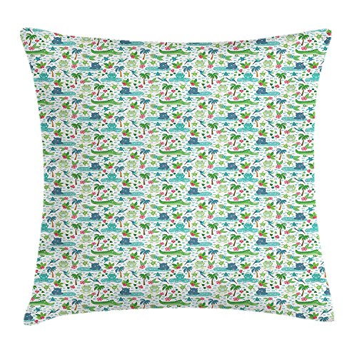 BUZRL Alligator Throw Pillow Cushion Cover, Funny Hippo Tropical Jungle Pink Hibiscus Frog Turtle and Hummingbirds Cartoon, Decorative Square Accent Pillow Case, 18 X 18 inches, Multicolor