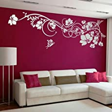 """Kayra Decor Flowers Reusable Wall Stencil in (134"""" X 96"""") inches Plastic Sheet"""