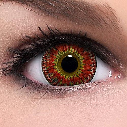 Linsenfinder Lenzera Circle Lenses rote 'Princess Red' ohne Stärke + Kombilösung + Behälter Big Eyes 15mm farbige (Big Eyes Kontaktlinsen)