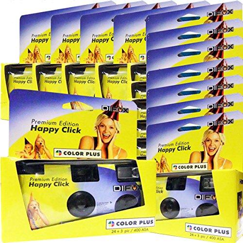 12 x PHOTO PORST Einwegkamera/Hochzeitskamera/Partykamera/Happy Click gelb (27 Fotos, Blitz, 12-er Pack)