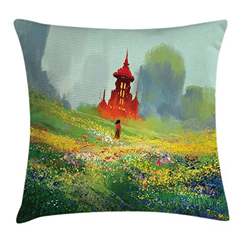 Fantasy Art House Decor Throw Pillow Cushion Cover, Lady in Floral Field Meadow to Old Castle before the Scary Mountain, Decorative Square Accent Pillow Case, 18 X 18 Inches, Red Green