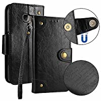 Galaxy S6 Edge Case, Dfly Premium Retro PU Leather Page Style Case Built-in 5 Card Slots Classical Magnetic Snap Closure Kickstand Function for Samsung Galaxy S6 Edge Case Slim Flip Wallet Cover, Black