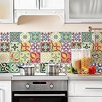 24 (Piezas) Adhesivo para Azulejos 20x20 cm - PS00049 - Valencia - Adhesivo Decorativo para Azulejos para Baño y Cocina - Stickers Azulejos - Collage de Azulejos