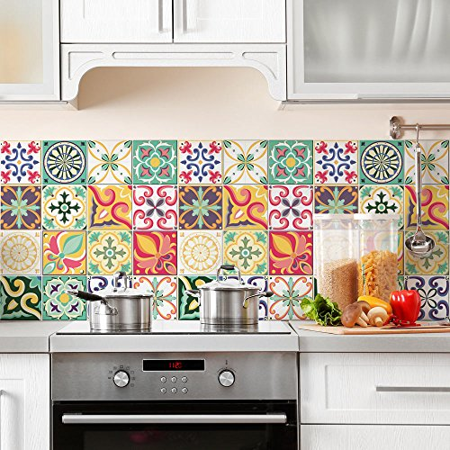 36 Adhesivo para azulejos 15x15 cm - PS00049 - Valencia - Adhesivo decorativo para azulejos para baño y cocina - Stickers azulejos - Collage de azulejos