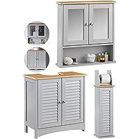 CARME Atlanta - 3 Piece Set Grey Bathroom Wall Mounted Cabinet with Mirror, Under Sink Storage Floor Unit