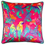Riva Paoletti Parrot Kissen Cover–Hot Pink, wendbar, Blumenmuster Parrot Print–Modernes Design–maschinenwaschbar–100% Baumwolle–50x 50cm (50,8x 50,8cm Zoll)–Entworfen in Großbritannien