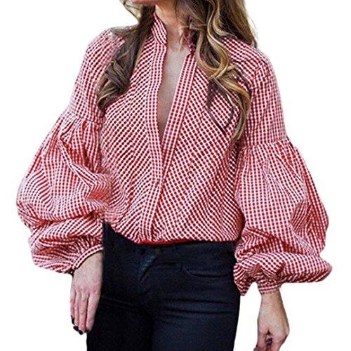 Damen Tops,TWBB Frauen Laternenhülse Tiefes V Oberteile Gitter Lange Ärmel Shirts V-Ausschnitt T-Shirt Freizeit Bluse