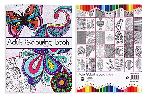 96 PAGE ADULT COLOURING BOOK STRESS RELIEF REALXATION ART THERAPY