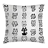 Cat Throw Pillow Cushion Cover, Hand Drawn Sketchy Cats with Happy Face Gestures Comic Creatures Funny Art Print Image, Decorative Square Accent Pillow Case, 18 X 18 inches, Black White