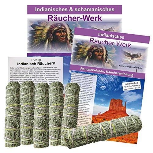 Prärie Wüsten Beifuß 7tlg Räucher Set | 6 x Kräuter Bündel Smudge Stick 10-12 cm + 1 Booklet mit Beschreibung + Anleitung | 81244 -