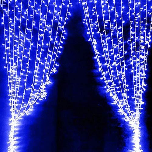 TianranRT USB Vorhang Lichter 3M 300 Led 8 Modi mit Kontrolle Weihnachtsfeier Steuerung Weihnachten Party (Blau)