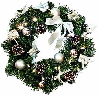 Star - Ghirlanda natalizia con luce a LED, colore: bianco/argento, con 20 punti luce, circa 40 cm, funzionamento a batteria